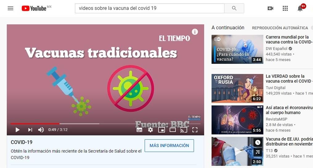 YOUTUBE ELIMINARÁ VIDEOS QUE PROMUEVAN LA DESINFORMACIÓN SOBRE LA VACUNA COVID-19