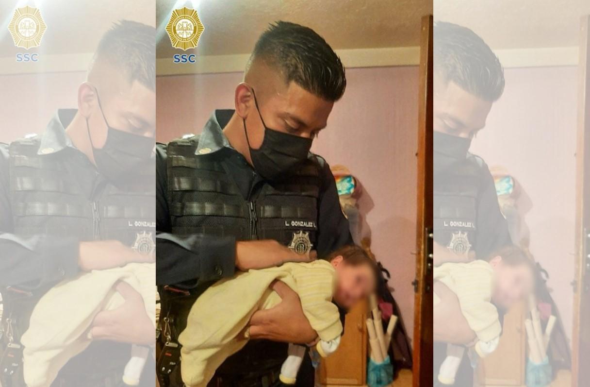 POLICÍA DE LA CDMX LE SALVA LA VIDA A RECIÉN NACIDO