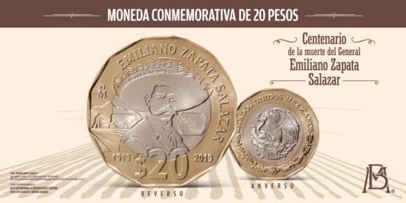NUEVA MONEDA DE 20 PESOS QUE CONMMEORA EL GENERAL EMILIANO ZAPATA
