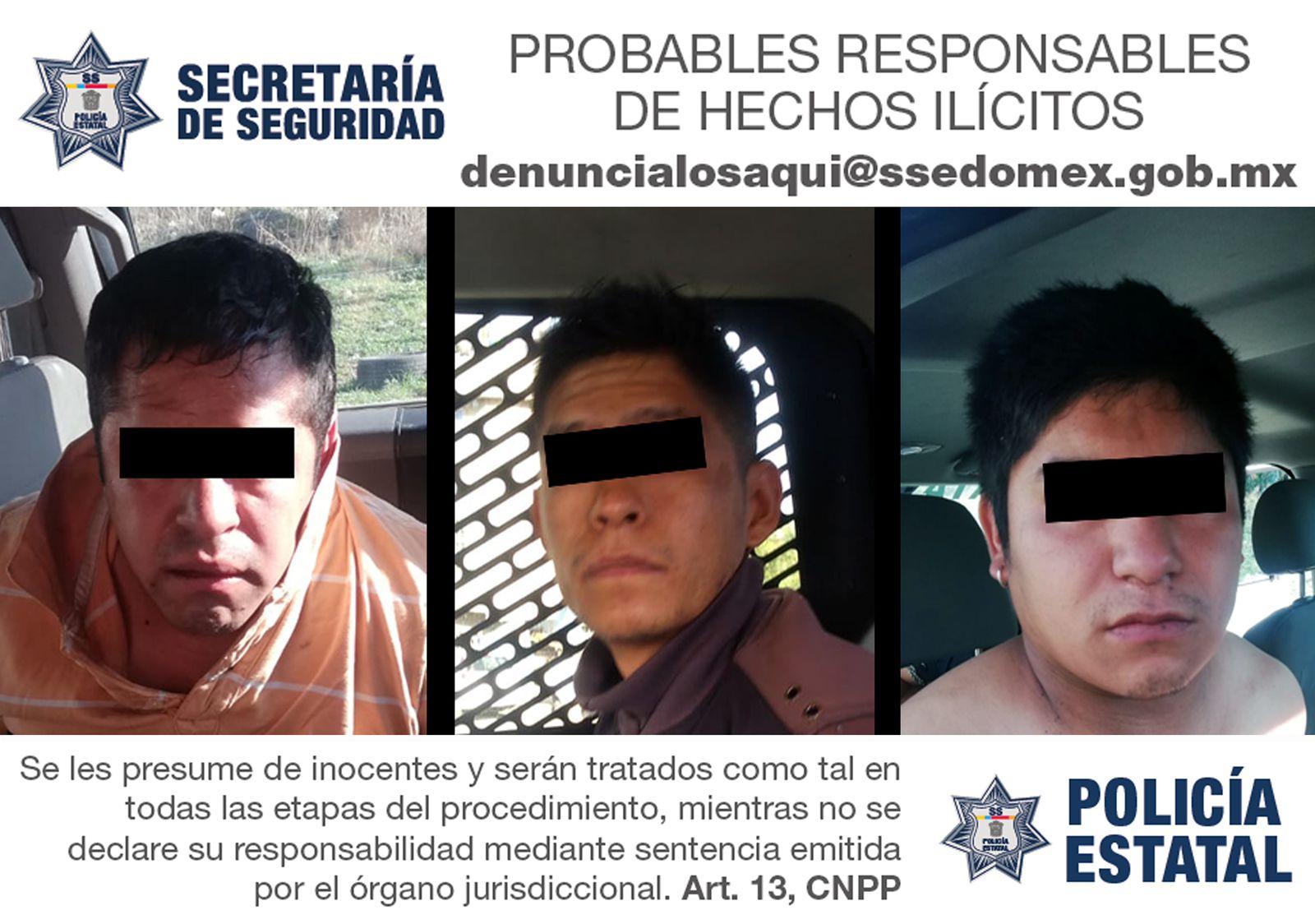 DETIENEN EN FLAGRANCIA A TRES PROBABLES IMPLICADOS DEL DELITO DE ROBO EQUIPARADO DE VEHÍCULO